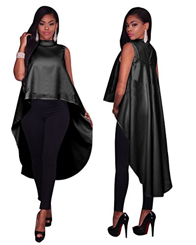2017 New Arrival Casual Style Cloak Cape Dress Women Fashion Drawstring Asymmetrical Dress Quniwo (M, black)