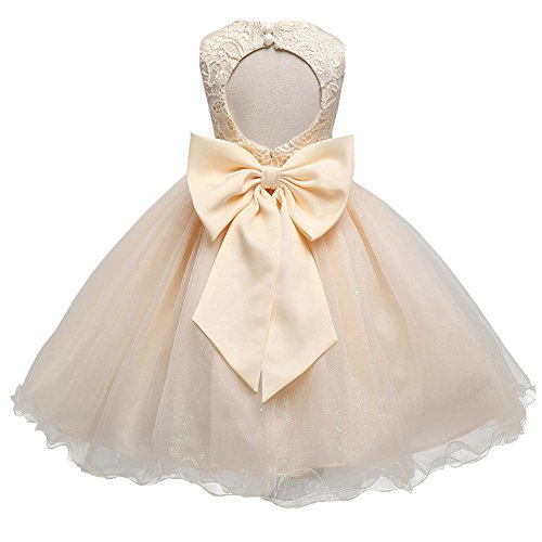 21KIDS Baby Girls Sequins Tulle Lace Flower Bridesmaid Gown Backless Dress with Bow for Party Wedding,Champagne(sequins Tulle),2-3 Years