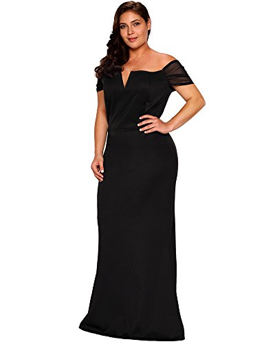 Lalagen Womens Plus Size Off Shoulder Long Formal Party Dress