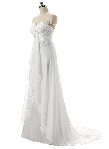 SZWT Women\'s Sweetheart Chiffon Long Beach Wedding Dress Ivory 2 ...
