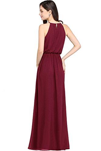 84373fb91 Babyonlinedress halter neck caual maxi dress women's chiffon formal evening  dress,Burgundy,14