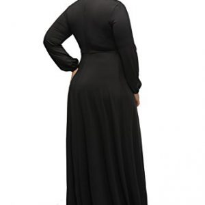 a512011cb7a Lalagen Women s Vintage Long Sleeve Plus Size Evening Party Maxi Dress Gown  Black XXXL