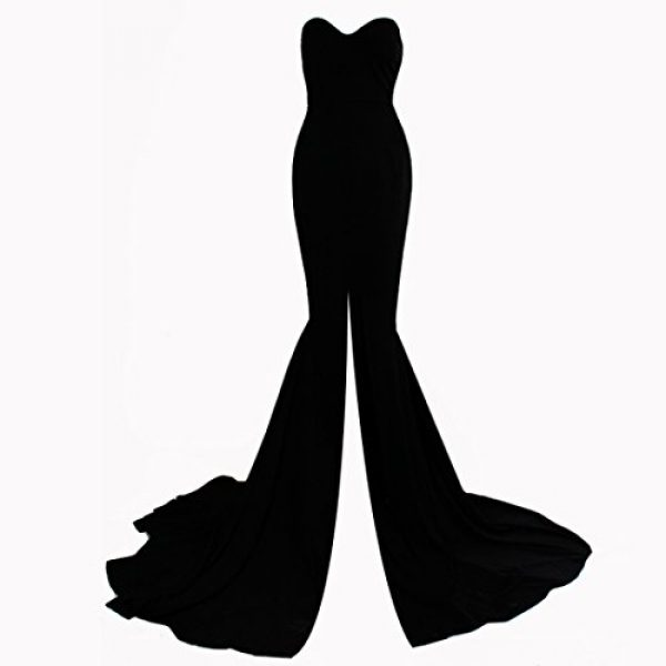 e0dda605cc77b Missord Strapless Asymmetric Slit Front wedding evening party Maxi Dress  Small Black