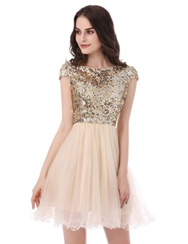 76d3155220 Sarhbridal 2017 Short Prom Dresses Sexy Homecoming Dress for Juniors  Birthday Dress Gold US16