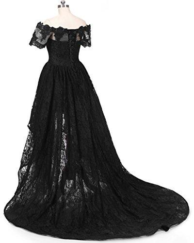 Diandiai Women\'s Hi-Lo Prom Dress Short Sleeve Lace Evening dress ...