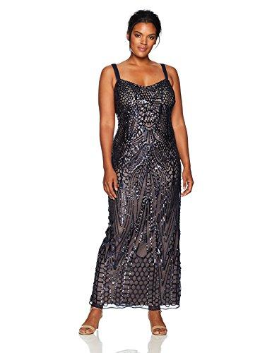 Rm Richards Womens Plus Size Long Embellished Sequins Jacket Dress