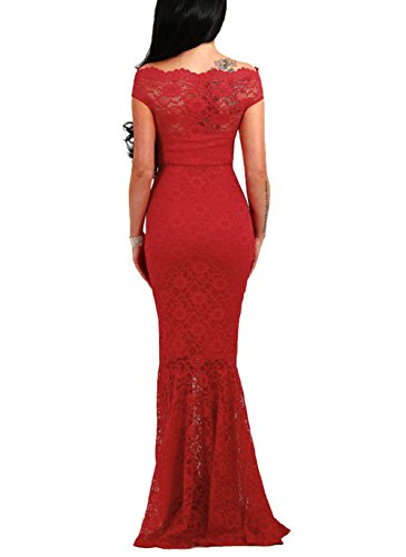 ed27bf8d08c95 Elapsy Womens Sexy Off Shoulder Bardot Lace Evening Gown Fishtail Maxi Dress  Red Small