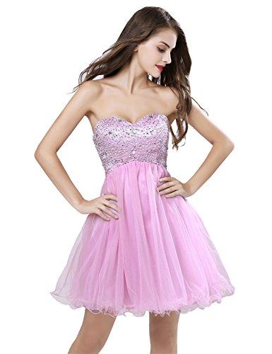 Sarahbridal Women\'s Short Beaded Prom Dress Strapless Homecoming ...