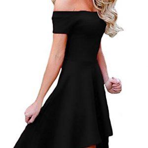 ad1c2900bf0 Sidefeel Women Off Shoulder Sleeve High Low Skater Dress XX-Large Black
