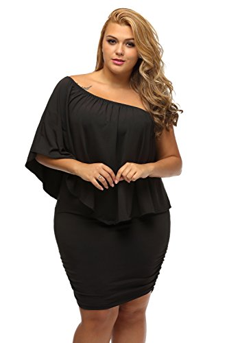 Sidefeel Women Plus Size Off Shoulder Ruffles Clubwear Mini Dress X