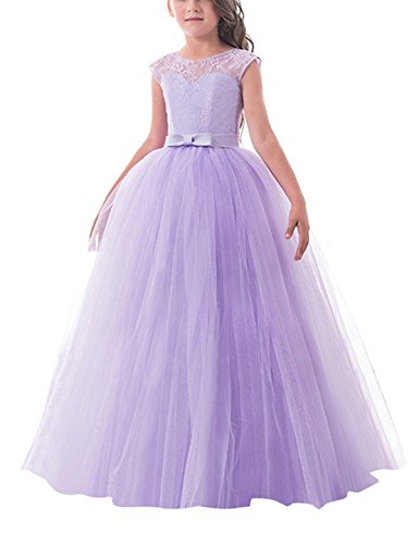 TTYAOVO Girl Sleeveless Chiffon Embroidered Tulle Wedding Party Gown ...