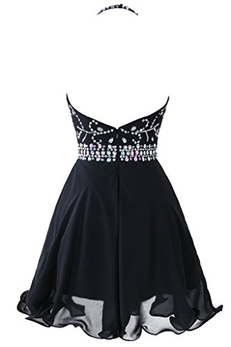 ac0379f35ac Topdress Women s Short Beaded Prom Dress Halter Homecoming Dress Backless  Black US 18Plus
