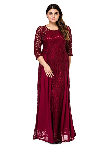 Esprlia Womens Plus Size Floral Lace 34 Sleeve Wedding Maxi Dress