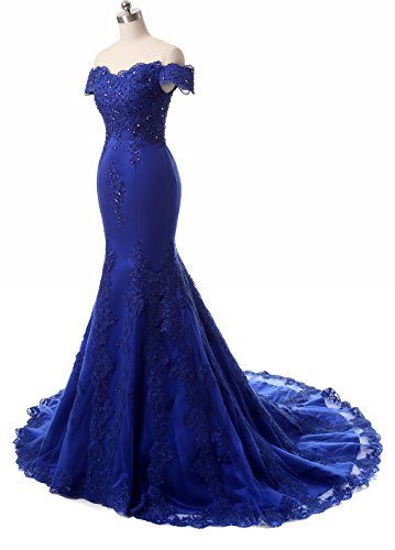 Himoda Women\'s V Neckline Beaded Evening Gowns Mermaid Lace Prom ...