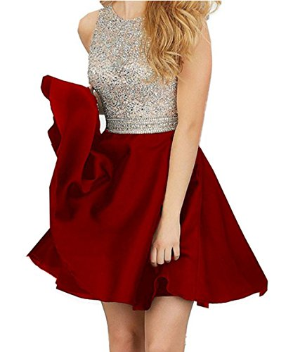 2016 Sexy Backless Dark Red Homecoming Dresses Short Prom Dress