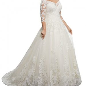 cdff1d08fafdd WuliDress Women's Plus Size Bridal Ball Gowns Lace Wedding Dresses with 3/4  Sleeves Ivory 26W