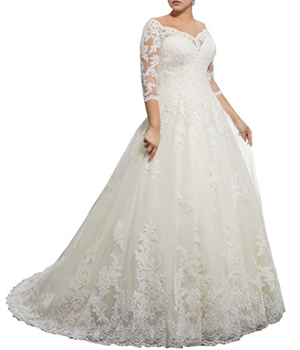 WuliDress Women\'s Plus Size Bridal Ball Gowns Lace Wedding Dresses ...