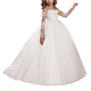 557e90aa70d08 Carat Lace Embroidery Sheer Long Sleeves Kids Trailing Gowns (Size 6, White)