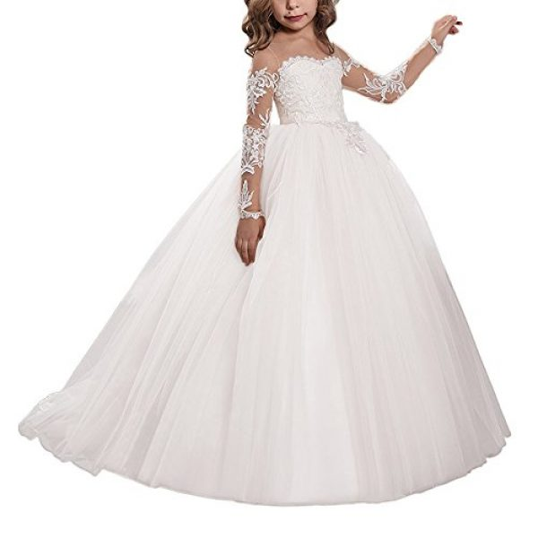 Carat Lace Embroidery Sheer Long Sleeves Kids Trailing Gowns (Size 6 ...