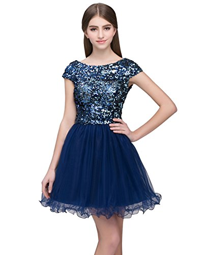 72725acf2 Belle House Junior's Short Tulle Sequined Homecoming Dress Prom Party Gowns
