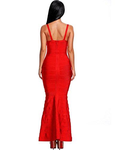 e3375cafdb Hego Women s V-neck Backless Fishtail Red Bandage Formal Evening Dresses  Long H2082 (S
