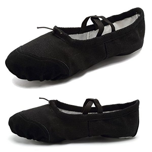 cf2b9b537d9ae CIOR Ballet Slippers for Girls Classic Split-Sole Canvas Dance Gymnastics  Yoga Shoes Flats(Toddler/Little Kid/Big Kid),VTW01,black,28