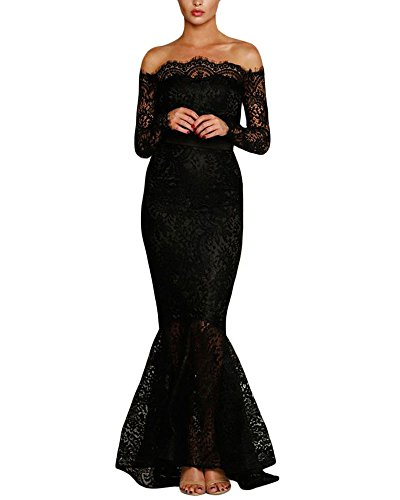 Lalagen Womens Floral Lace Long Sleeve Off Shoulder Wedding Mermaid