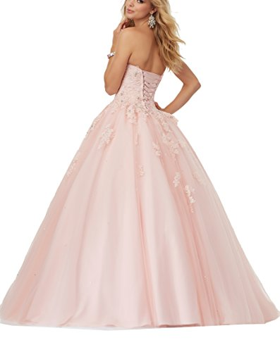 bc6d49ef0a149 Elley Women s Lace Applique Sweet Sixteen Girl Birthday Party Backless Long Tulle  Quinceanera Dress Lilac US6