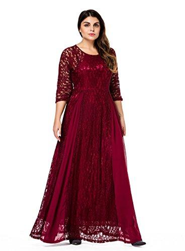Esprlia Womens Plus Size Floral Lace 34 Sleeve Wedding Maxi Dress