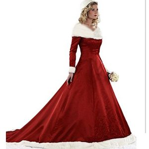 8aae904ca3a49 XIA Women's V-Neck Christmas Costume Dresses A-Line Appliques Red Long Ball  Gown Winter Wedding Dresses Plus Size Red 12