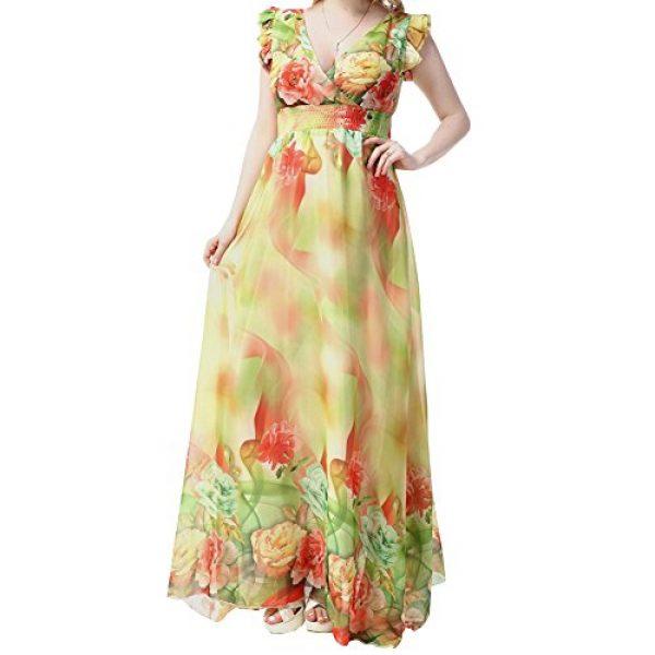 TLH Women\'s Plus Size Chiffon Summer Beach Flower Print Maxi Dress High  Waist Yellow XX-Large