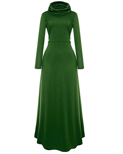 f9c66a61010 SCORP Women s Fall Cowl Neck Long Sleeve Casual Cocktail Wedding Long Maxi  Skater Dress Green S