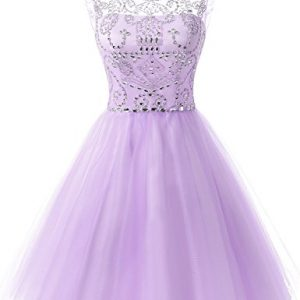 f257078a214 Belle House Women s Short Prom Ball Gown Lilac Tulle Sweet 16 Sheer Neck Homecoming  Dresses With Beads