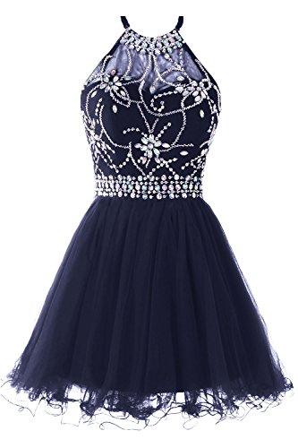 1bafe76f3ee8 Musever Women's Halter Short Homecoming Dress Beading Tulle Prom Dress Navy  US 2