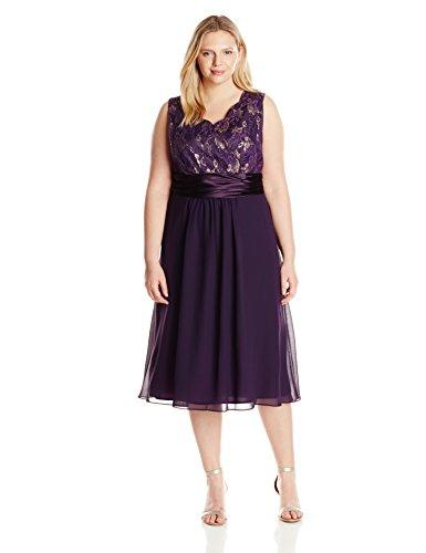 Le Bos Women\'s Plus-Size Scallop Lace Jacket and Dress Set, Eggplant, 16W