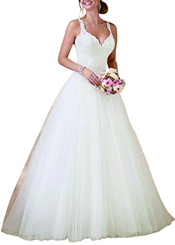 fd11a49635502 Dobelove Women's Lace Bodice Ball Gown Wedding Dress With Detachable Train,  White, 16