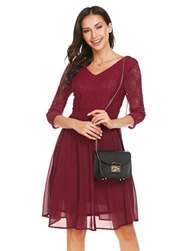 bdb580a5b07 Unibelle Women s Floral Lace Dress Short Bridesmaid Dresses with Sheer  Neckline