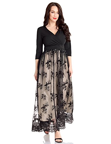 GRAPENT Women\'s Plus Size Sequin 3/4 Sleeves Evening Gown Party Long Maxi  Dress Champagne Black Size 22W