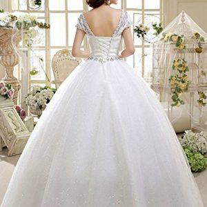 ffc5b15ff1726 2017 obqoo Elegant Jewel Scoop Capped Lace Beaded Ball Gown Wedding Dress  Ivory, 6