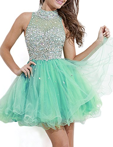 71dde87558 SeasonMall Women s Short Prom Dresses A Line High Neck Tulle Homecoming  Dresses Size 0 US Mint
