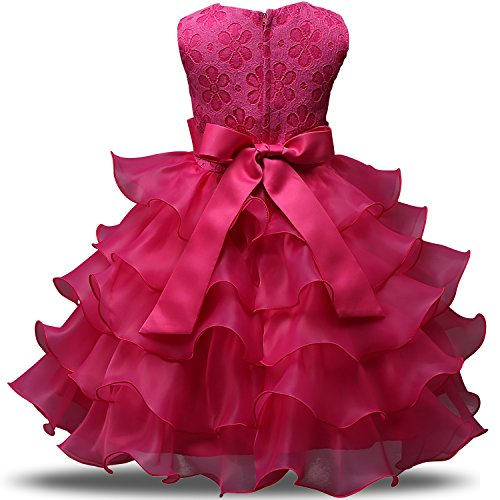 294f1cd88 NNJXD Girl Dress Kids Ruffles Lace Party Wedding Dresses Size 4-5 Years Rose (120)