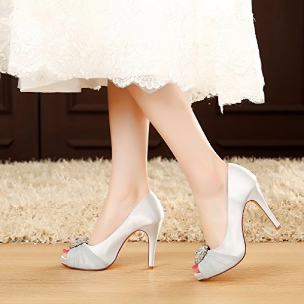 8d2ccfb61 LUXVEER Wedding Shoes Combining Satin Lace and Rhinestone Brooch High Heel  4.5inch-Peep Toe-EUR35 (6.5