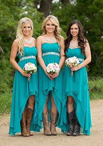 Fanciest Women Strapless High Low Bridesmaid Dresses Wedding