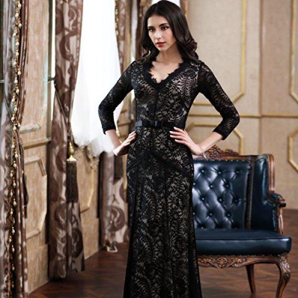 Miusol Womens Floral Lace 23 Sleeves Long Bridesmaid Maxi Dress Black Small
