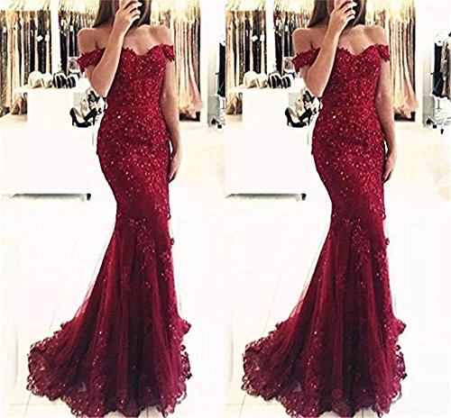 YSMei Lace Mermaid Tulle Prom Dresses Off Shoulder Long Beaded ...