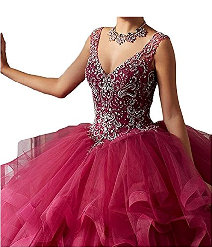 733a7ec1056 Diandiai V-Neck Ball Gown Quinceanera Dresses Tulle Beads Long Prom dress  Dusty Pink 6