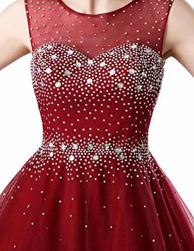 f5aca37ad Clearbridal Tulle A Line Burgundy Homecoming Dresses 2017 Short For Juniors  Sheer Neck Prom Dresses Ball Gown With Beads