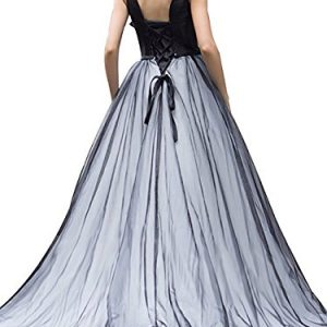 69f12fefd60 DarlingU Women s 2018 Formal Plunging Neck Prom Evening Dresses With  Bowknot Quinceanera Gowns Black 8