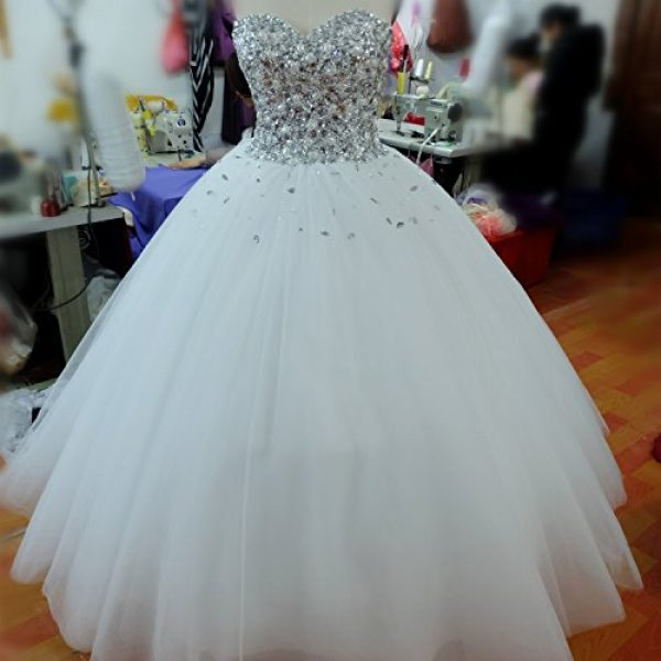 Spbridal Bling Crystal Ball Gowns Wedding Dress For Women