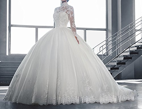 Aurora Bridal Women\'s Bridal Gown Luxury Lace Long Sleeves Ball ...